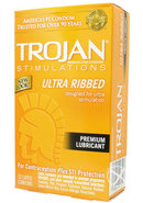 Trojan Condom Stimulations Ultra Ribbed Lubricated 12 Pack